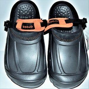 Other - Men women Crocs sandals black orange M 7 W 9 Nwt